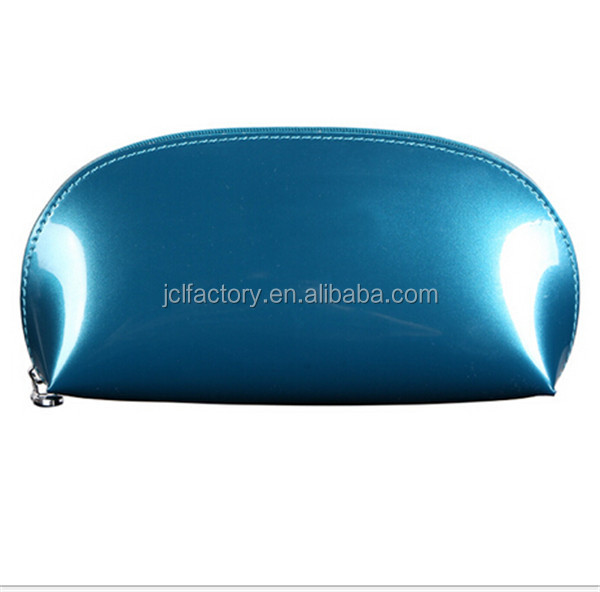 luxury style but cheap promotional pu shiny cosmetic bag round cosmetic bag