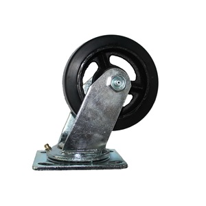 black rubber moulded on cast iron core wheel assembling roller bearing and top plate style zinc plating swivel fork