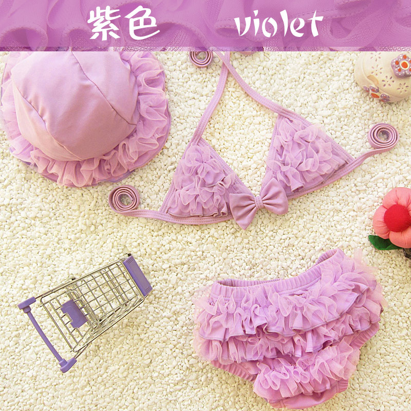 F50156A New european childrens hot sale cute halter backless swimwear type tankinis swimwear with a hat for flower baby girls