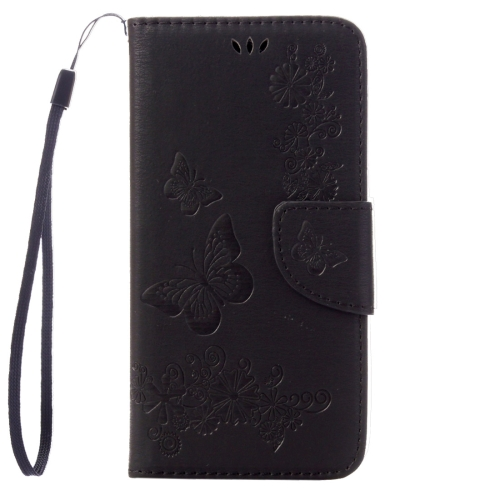 Pressed Flowers Butterfly pattern Horizontal Flip Leather Case with Magnetic Buckle & Holder & Card Slots & Wallet(Black)