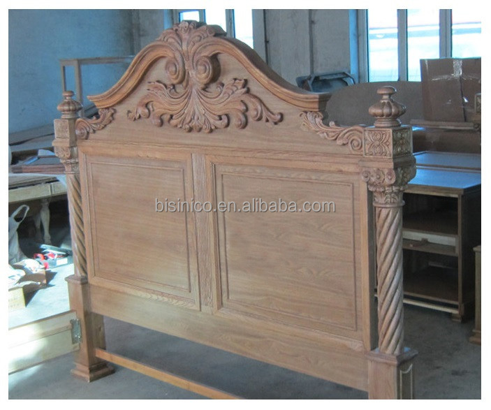 Luxury Spanish Colonial Revival Style Bed/Retro Bedroom Furniture Wooden King Size/European Palace Hand Carved Bed