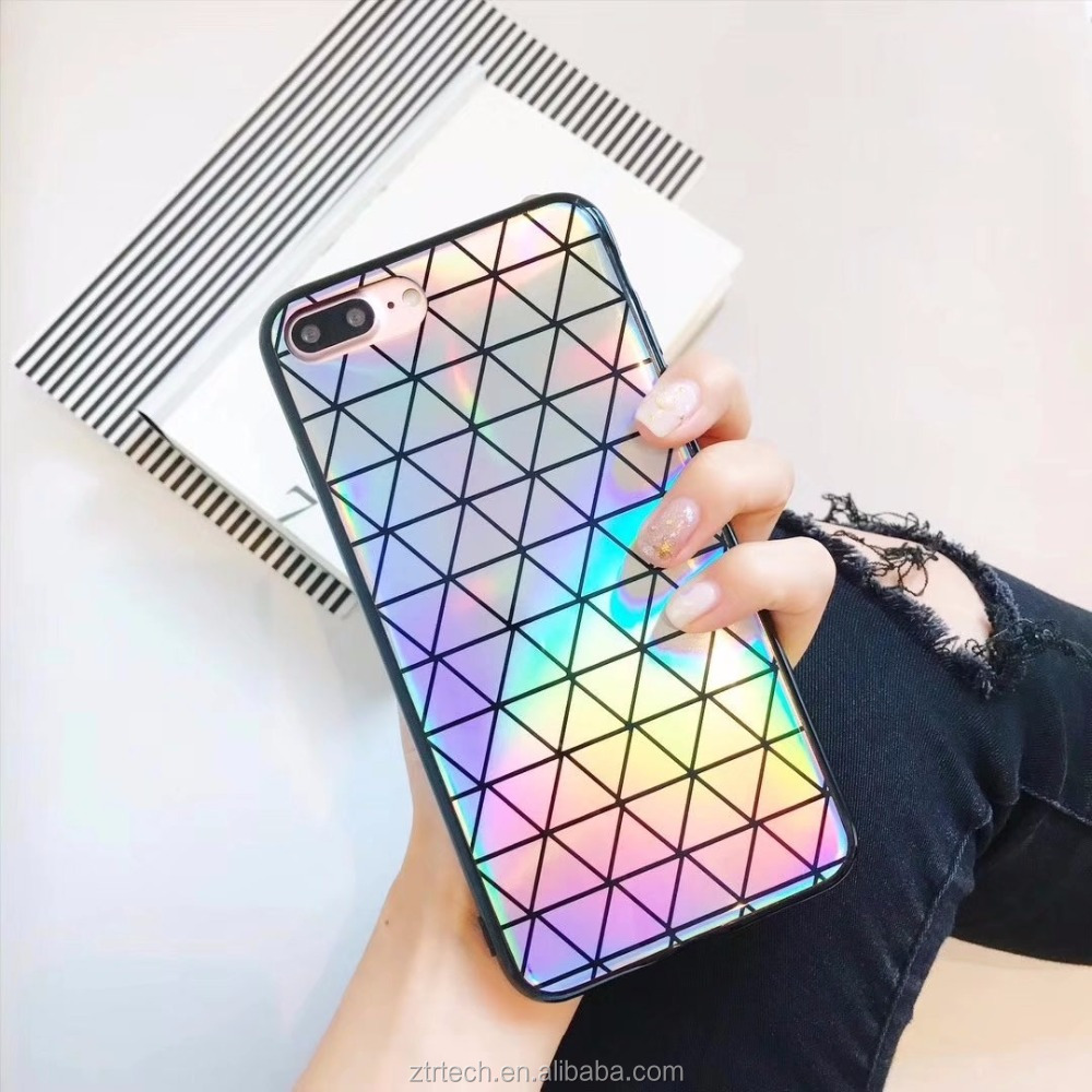 Colorful Laser Phone Case For iPhone x 8 7 Cool Rainbow Shining Case For iphone 6 6s 6plus 7plus Soft Silicon Cover