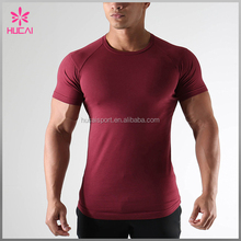 Wholesale Red Fitted Muscle Sports Wear Fitness Gym Custom Men Blank T Shirt