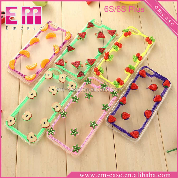 DIY Fruit Clear Back PC TPU Bumper Case For iphone 6 6 Plus