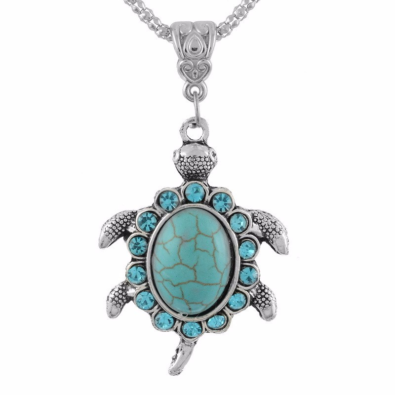 Fashion Silver Jewelry Silver Turtle Blue Opal Stone pendant Necklace
