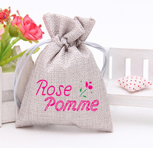 Wholesale custom printed drawstring pouch hessian jute burlap gift bags jewelry