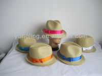 Ladies summer holiday paper braid top hat with satin band bow
