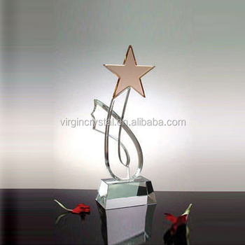 Unique trophy design star award plaque crystal souvenir gift
