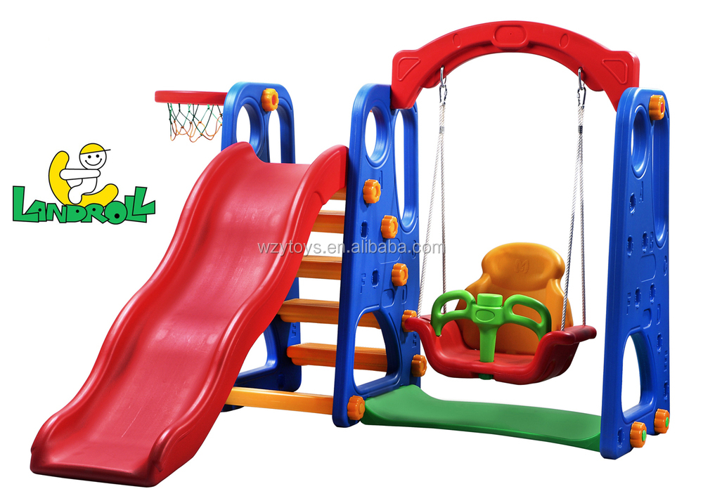 kids home and garden plastic swing and slide set