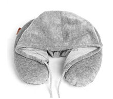 Hoodie Hooded Travel U-Shape Headrest Memory Foam Neck Pillow Perfect For Air Plane/Car/Office Use With a Hat