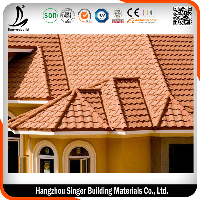 Brick Color Stone coated Metal Roof Tile With Cheaper Price