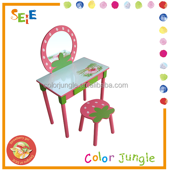 Portable single seater wood desk and chair, dresser for girls