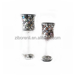 Tall Mirrored Mosaic Unique Shape Colored Champagne Glass Candle Holder