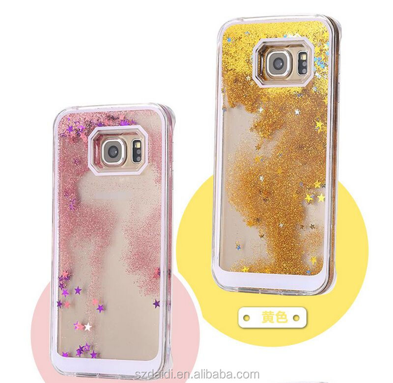 colorful liquid stars flowing phone case bling glitter skin cover for Samsung Galaxy S6 stars flowing case for Samsung