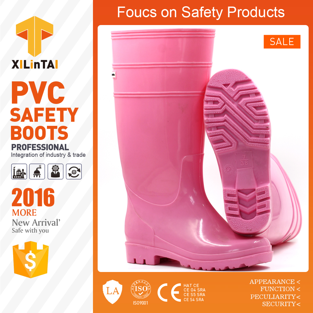 PVC pink color ordinary working rain boot for girls