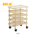 MUK hot selling hotel restaurant service car trolley 3-8 layers compartment cart