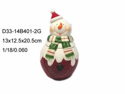 Ceramic christmas snowman candy jar for sale