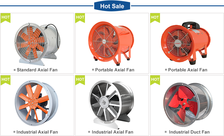 Portable explosion proof axial flow exhaust ventilator blower fan