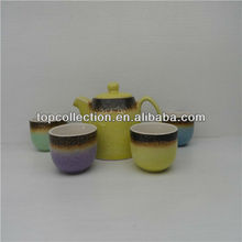 ceramic yellow tea set popular imports in 2013 new design