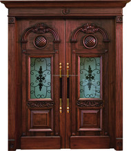 New design beautifully carved swing painting wooden double door designs