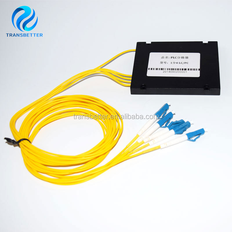 2.0mm 1M 1x4 ABS Box 1 4 LC Fiber Optical PLC Splitter with LC/PC Connector