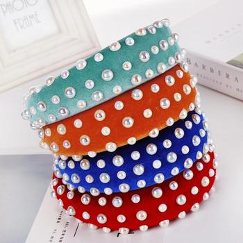 High-brightness pearl sponge headband Multi-color solid color wide-brimmed lady jewelry solid color headband