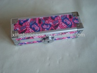 Color pencil box,drawing pencil case with fabric panel,buy pencil case