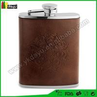 promotional gift 2015 alibaba supplier leather key chain stainless steel hip flask made in China