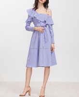 Blue Striped Asymmetric Ruffle Off The Shoulder Belted Shirt Dress Nice-forever Spring Cute Style Womens A Line Dress