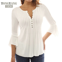 TONGYANG Korea Style Women Blouse Shirts 2018 Elegant Ruffles Solid Casual Tops For Women