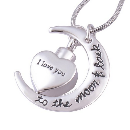 To the moon and back heart Cremation Ashes Pendant Urn Necklaces for Pets Keepsakes