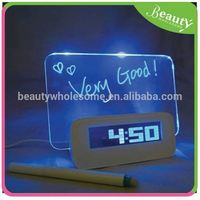 Color LCD backligh writing message board retro alarm clock