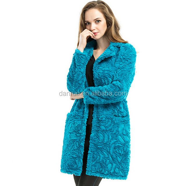 Middle length faux fur coat pink long hair women goat fur coats from china