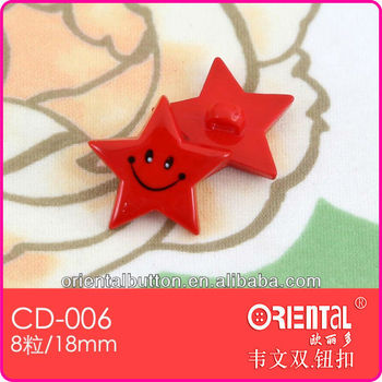 lovely star shaped resin baby's button with pattern