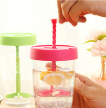 300ml Whirlwind Manual Mixing Cup with lid Portable water bottle for camping office Coffee mugs