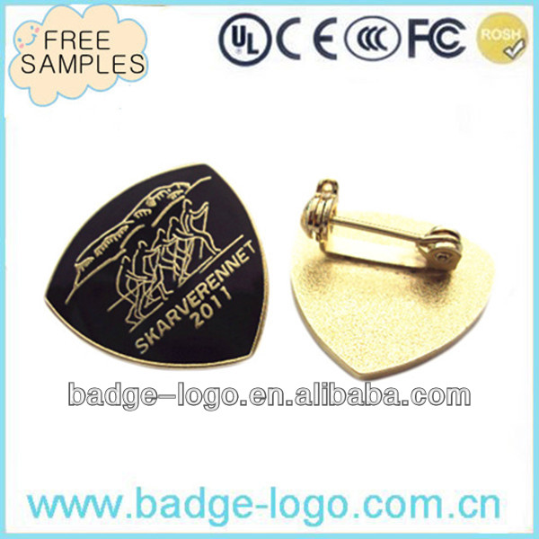 gold plated lapel pin back with safety pin