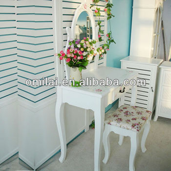 wooden cosmetic table with PU wraped bench dressing mirror