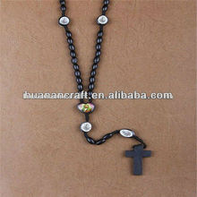 Competitive price black wooden religious different types of rosary beads mens necklace