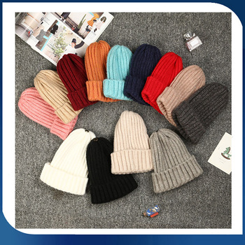 wholesale cashmere women and men's beanie hat wool thick long knitted custom fisherman beanie knit hat