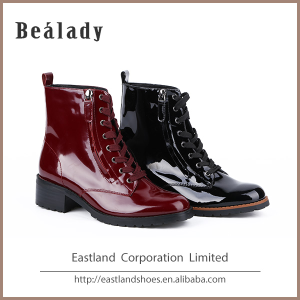 E1555H-X21 fashion lady shoe sexy lace up short ankle boots with whole top patent leather low thick heel thick whale Rubber sole