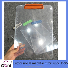 Wholesale High Plastic Color Flexible Transparent Clipboard