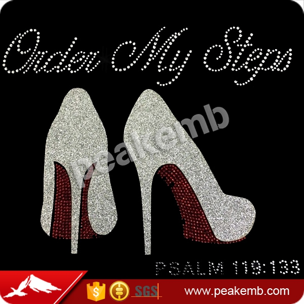 Crystal Iron on Order My Steps High Heel Rhinestone Appliques for Coats