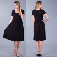 Stretch Brand Women Clothing 90% MODAL10% SPANDEX SOLID JERSEY KNIT Short Sleeve SCOOP NECK DRESS