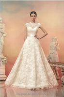 newest high neck ball gown cream lace wedding dress