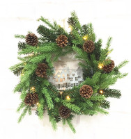 Lighted outdoor Christmas artificial wreaths