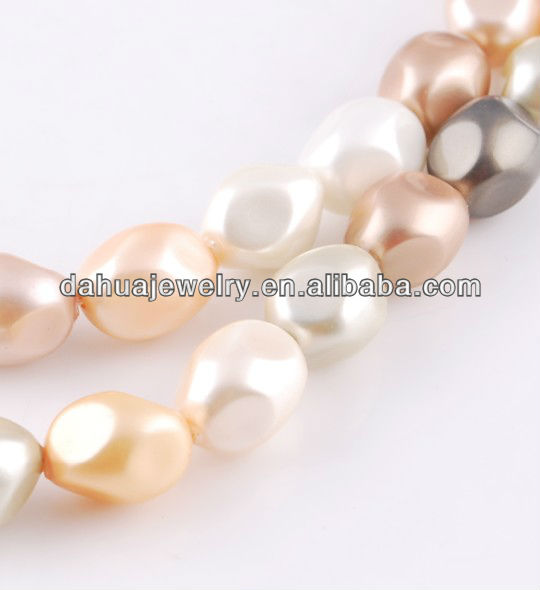 barroque shape of shell loose pearl strands