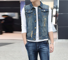 Denim supplier wholesale mens summer fashion trends male ripped sleeveless denim jacket vest