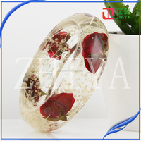 ZHIYA 2016 Series Gypsophila paniculata Lin with rose Real Moss Resin Jewelry Real Dried Moss Resin Bracelet Plant Resin Bangle