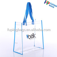 Custom pvc clear shopping tote gift bag with logo for promotion