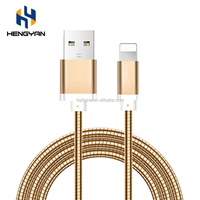 Fast Charging Metal Custom Logo Flexible Spring USB Cable For IPhone